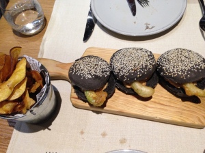 Salmora - squid ink buns with crab and avocado